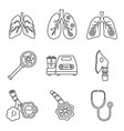 pneumonia disease icon set outline style vector image vector image