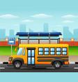 school bus on city skyline vector image