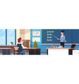 school math lesson female teacher with pupil boy vector image