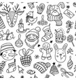 seamless pattern with cute funny christmas doodles vector image