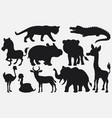 set of black silhouettes wild animals cartoon on w vector image vector image