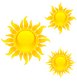 shining sun symbols vector image vector image