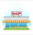 Shop Building with Green Grass vector image