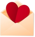 Simple envelope with red paper heart vector image