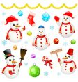 snowman and Christmas objects vector image vector image