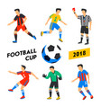soccer players set football cup 2018 full color vector image vector image