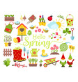 spring and gardening tools icons set planting vector image vector image