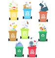tanks under the sorted metal garbage organic vector image