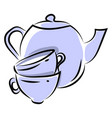 tea pot with cups on white background vector image