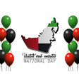 uae national map with flag and balloons vector image