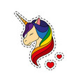 unicorn with closed eyes rainbow mane vector image vector image