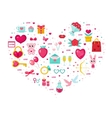 Valentines Day icon set in heart shape Template vector image
