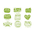 vegan menu vintage stamp collection vector image vector image