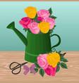 vintage flower bouquet flat style vector image vector image