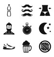 whiskers icons set simple style vector image vector image