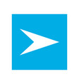 white right arrow in blue square vector image vector image