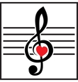 with treble clef and heart on white vector image vector image