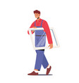 worker in overalls carry glass in frame vector image