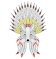 zentangle Fox with War Bonnet and mustache vector image vector image