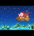 Santa Claus with jet reindeer christmas vector image