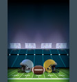 american football field stadium with helmets and vector image vector image