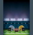 american football field stadium with helmets vector image vector image