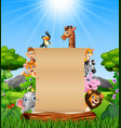 animals with paper blank sign at forest vector image vector image