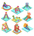 aqua park water slides isometric 3d elements vector image vector image