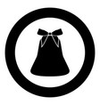bell with bow ribbon black icon in circle vector image vector image