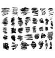black brush strokes set vector image vector image
