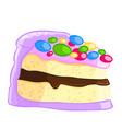 cartoon icon of a piece of vanilla sponge cake vector image vector image