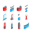 color exhibition stands 3d icons set isometric vector image