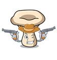 cowboy milk mushroom character cartoon vector image