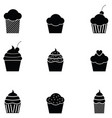 cupcake icon set vector image