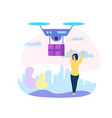 drone mail service woman waiting for parcel vector image vector image
