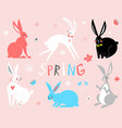 eastern bunny rabbits vector image vector image
