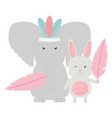 elephant and rabbit with feathers hat bohemian vector image vector image