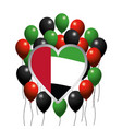 emblem heart with uae flag and balloons vector image