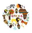 flat african ethnic elements round concept vector image vector image