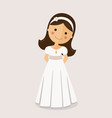 girl with communion dress on ocher background vector image vector image