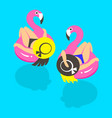 girls on an inflatable pink flamingo in summer of vector image vector image