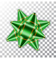 green bow ribbon 3d decor element package shiny vector image
