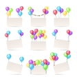 Greeting cards templates with color balloons and vector image