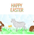 happy easter border seamless background lamb vector image vector image