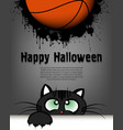 happy halloween cat and basketball ball vector image vector image
