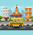 happy students riding school bus vector image vector image