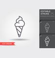 ice cream cone line icon with editable stroke vector image vector image