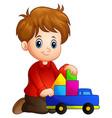 little boy build a house ou vector image vector image