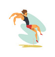male athlete doing long jump professional vector image