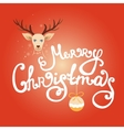 Merry Christmas lettering with reindeer vector image vector image